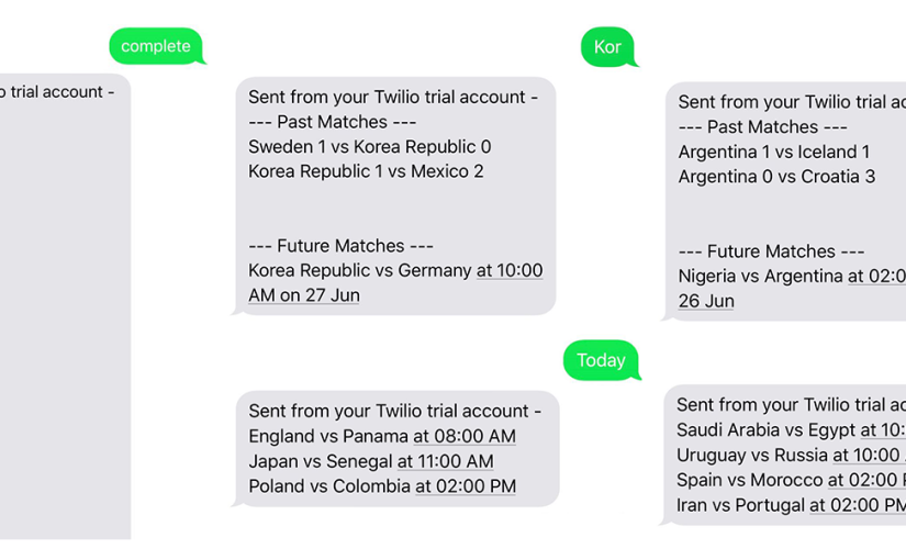 A FIFA 2018 World Cup SMS bot using Twilio, Heroku and Flask
